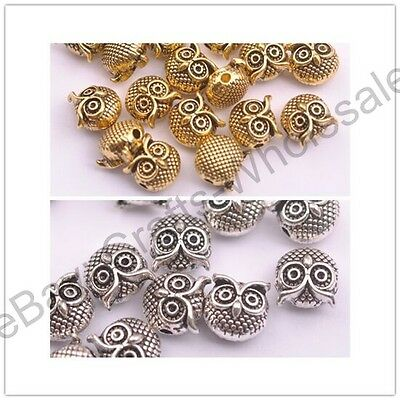FREE SHIP Antique Tibetan Silver Owl Charm Spacer Beads Jewelry Findings