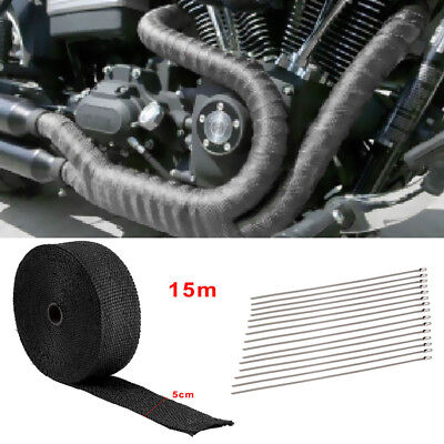 15M Titanium Heat Wrap Exhaust Manifold Nsulating Tape +15 Cable Ties 30Cm