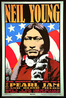 """Neil Young POSTER 23""""x34"""" Pearl Jam Concert Rock Folk Country Freeship WW"""