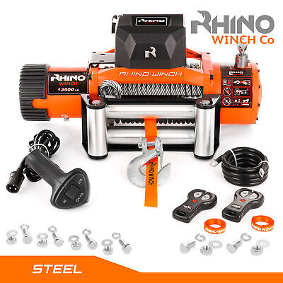 12v / 24v 13500lb Electric 4x4 Recovery RHINO WINCH Wireless Heavy Duty Off Road