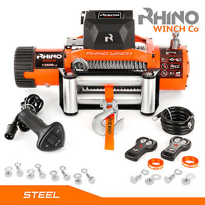Electric Recovery Winch - 12v / 24v 13500lb RHINO, Wireless 4x4 Car Heavy Duty