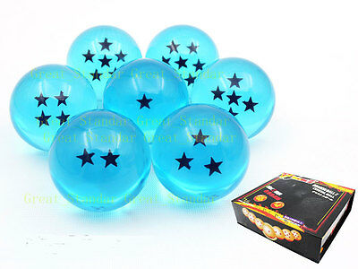 7 pcs JP Anime Dragon Ball DragonBall Z Stars Crystal 35mm Blue Ball Set IN BOX