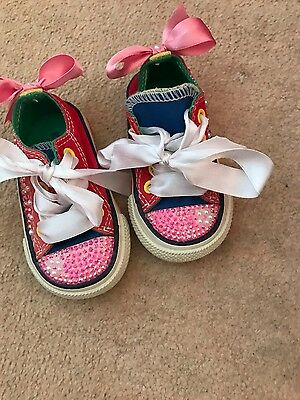 Baby Girls Converse with Bling size UK 3 (infant) VGC