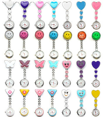 Colorful Stainless Steel Nurse Watch Clip-On Brooch Tunnic Fob Medical Quartz