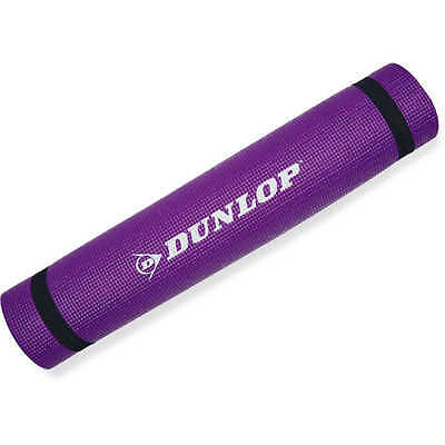 Dunlop SPORT YOGA MAT 64x38cm, 6mm Thick, Shock Absorbing, Easy To Carry, PURPLE