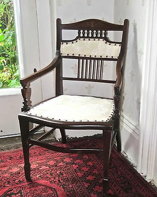 Pretty Small Edwardian Inlaid Mahogany Childs Armchair, Very Good Condition