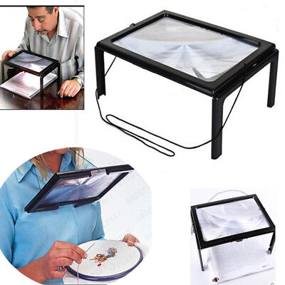 A4 Standlupe Tischlupe Leselupe Lesehilfe 3-fach Lupe Faltbar Mit 4 LED-Lampe SU