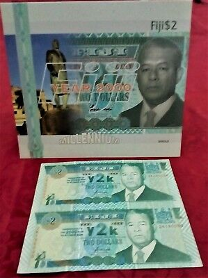 Fiji $ 2 Dollars Y2K 2000 P 102 UNCUT SHEET of 2 Millenn. Notes with FOLDER UNC!