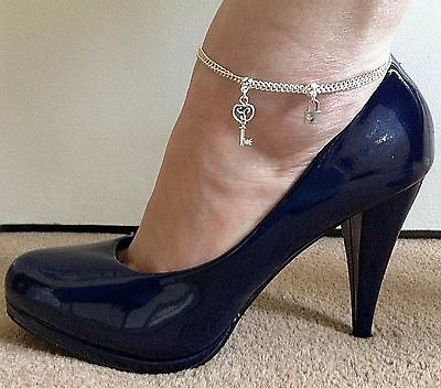 PADLOCK & KEY CHARM SILVER DOUBLE CURB CHAIN ANKLET ~ Mistress Keyholder Cuckold