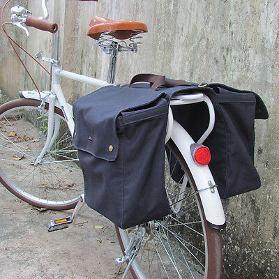 Tourbon Bike Double Pannier Bicycle Bag Rolled-Up Seat Canvas Navy Blue in AU