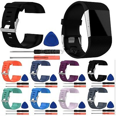 Sport Silicone Replacement Band Wrist Strap Bracelet + Tool For Fitbit Surge L/S