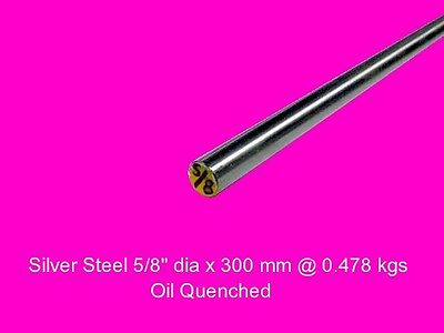 "Silver Steel 5/8"" dia x 300 mm ( Oil ) -Tools-Lengths-Lathe-Mill-Steam"