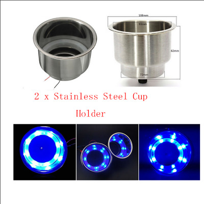 Blue 8LED Stainless Steel Cup Drink Holder Marine Boat Car Truck Camper Sea 2Pcs