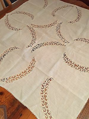 Gorgeous Antique Lace And Linen Small Table Cloth