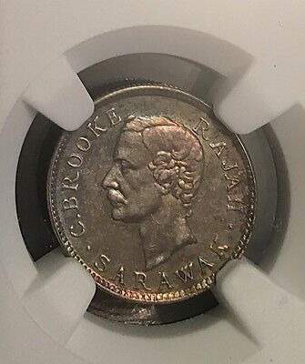 Sarawak 1913H Silver 5 Cents NGC Certified AU 58 Nicely Toned