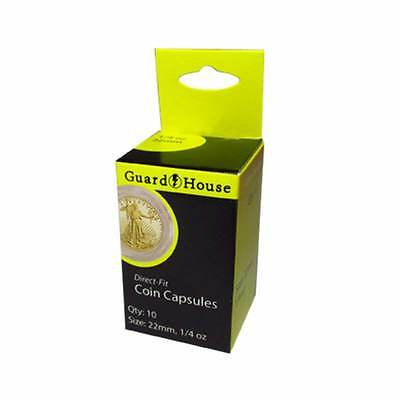Direct Fit Air Tight Coin Capsules, 1/4 oz Gold Eagle by Guardhouse 22mm, 10 pk