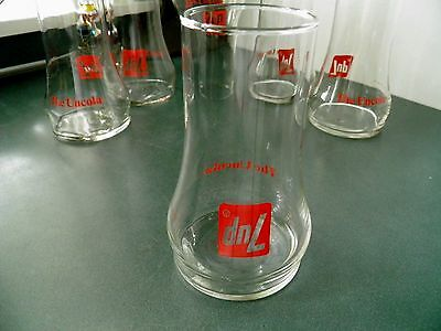 7Up Uncola Soda Pop Glasses Set Of 6 Upside Down Glass Fountain Drink Tumblers