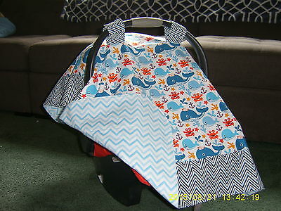 **WHALES ANCHORS**  w/CHEVRON border Handmade Baby Car Seat Canopy-Cover