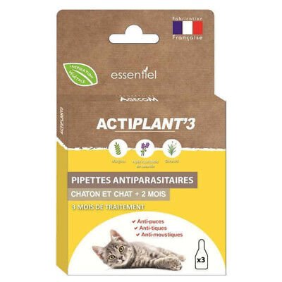 ActiPlant'3 - Pipettes Insectifuges Antiparasitaire pour Chat et Chaton - 3x0,6m