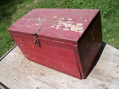 Indiana Farm  Find- Vintage Red Wood Box-Old Red Paint-Hinged Lid