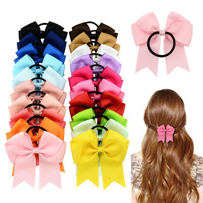 10pcs Baby Girl's Hair Band Rope Bow Grosgrain Ribbon Elastic Ponytail Headband