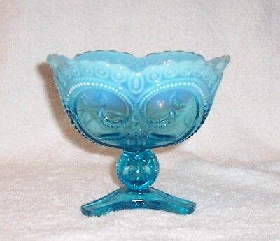 Jefferson Glass Tri Footed Compote Beaded Fleur De Lis Blue Opalescent 1906