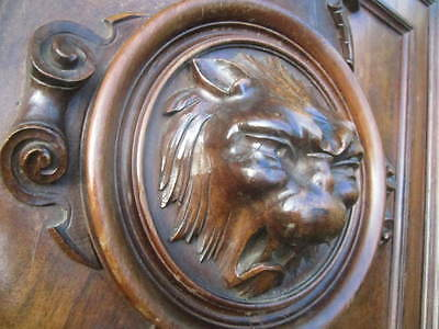 Impressive Antique FRENCH ARCHI SALVAGED CABINET DOOR Wooden Carved LION'S HEAD