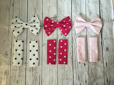 pram padded bow harness strap covers stars black cerise pink baby pink white