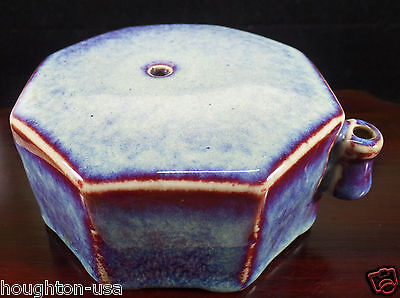 XLG Chinese Octagonal  Water Dropper. Blue-Gray with Flambé Purple Highlights