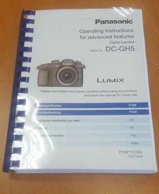 Panasonic Dmc-Gh5 Full User Manual Guide Instructions Printed 348 Pages A5