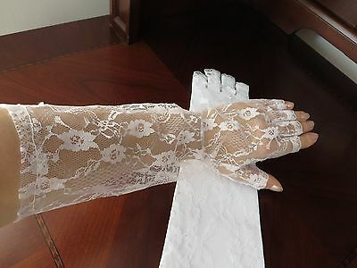 Party wedding ball VTG style retro floral  white lace elbow fingeless gloves