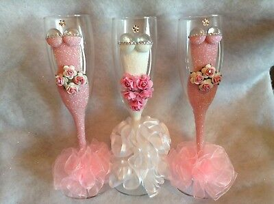 Set Of Three Bridesmaid Champagne Wedding Flutes, Ideal Wedding Gift