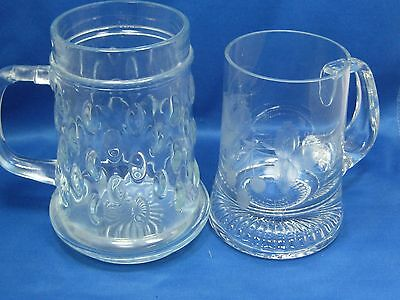 Two Antique German Etched &Cut  and Embossed Glass Beer Mugs Very Beautiful