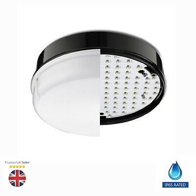 Led 12W Outdoor Indoor Round Bulkhead Wall Ceiling Light Black Ip65 Waterproof