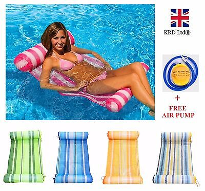 Swimming Pool Water FLOATING HAMMOCK Lounge Chair Float Inflatable Bed +AIR PUMP