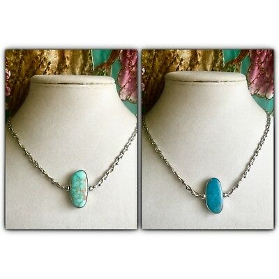 Beautiful Sunwest RARE Reversible Turquoise Fancy Link Sterling Silver Necklace