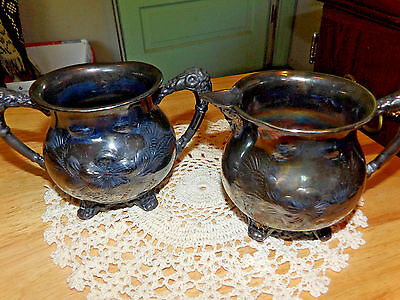 Rogers Silver Co Quadruple Plate 117 Sgar and creamer footed ornate fancy floral