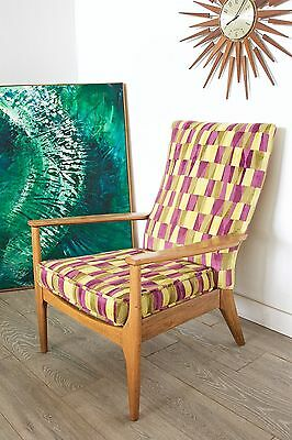 DELIVERY £50 Retro Mid Century Teak Parker Knoll Arm Chair Sanderson Fabric