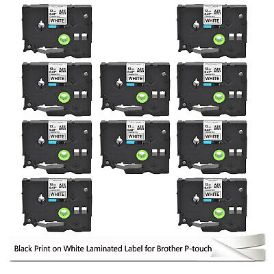 10 Pack Label tape TZ-231 TZe-231 Black on White For Brother P-TOUCH 12mm 1/2''