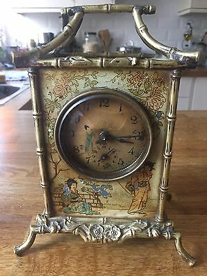 A Chinoiserie Brass Simulated Bamboo Framed Mantel Clock Circa 1900