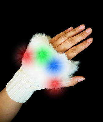 LED Furry Half Gloves Raver Fluffies