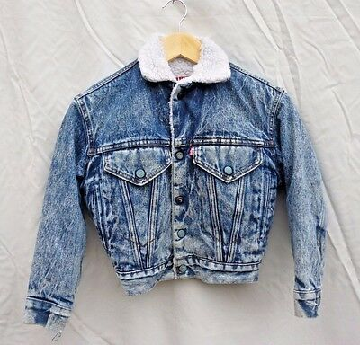 Vintage 1980s Rare Levi's Acid Wash Denim Jacket Fleece Lined Sherpa Kids Boys S