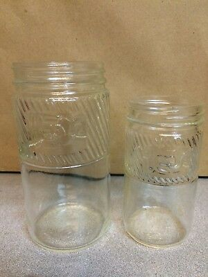 Vintage Jumbo Embossed Peanut Butter Jars Lot Of 2 Different Sizes Same Graphics