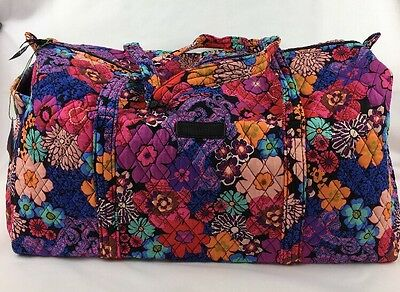 NWT Vera Bradley New Large Duffel Travel Bag Floral Fiesta MSRP $85