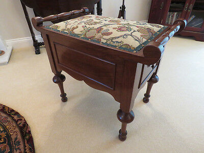 Beautiful Antique Renovated and Upholstered Walnut Piano Stool (with Storage)