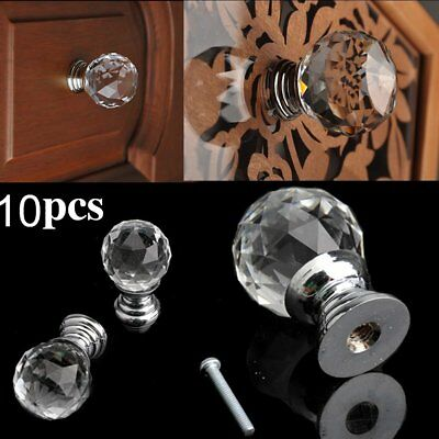 UK 32PCS Clear Crystal Glass Door Knobs Cupboard Drawer Cabinet Kitchen Handles