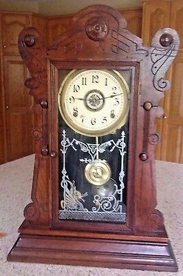 Antique Ansonia Andes 8 Day Strike Mantle Clock  W/ Alarm & Chimes