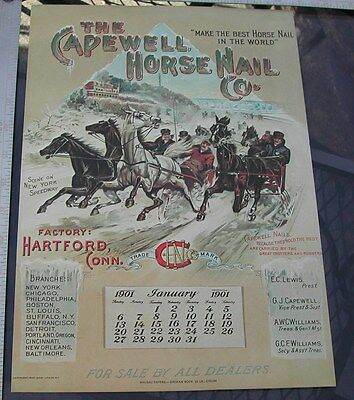Capewell Horse Nail 1901 Calendar Mailaway Print New York Spdwy Trotter Runner
