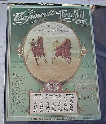 Capewell Horse Nail Print1903 Sulky Racing Cresceus  Mailaway Western Horseman