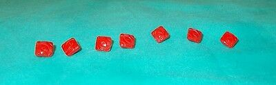 """Vintage 40s/50s Set of 7 Mini-Tiny-Wee Red Buttons-Geometric Design-1/4"""" Square"""